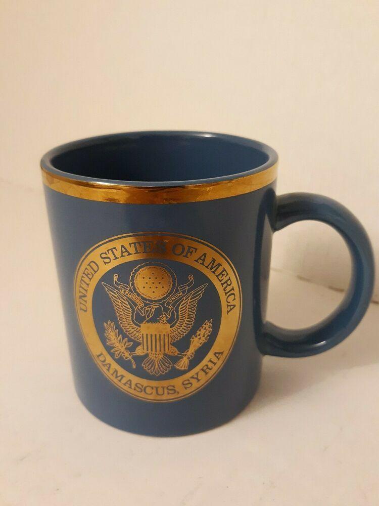 Gold Trimmed Blue Mug United States Of America Damascus Syria Ebay In 2020 Damascus Syria Mugs United States Of America
