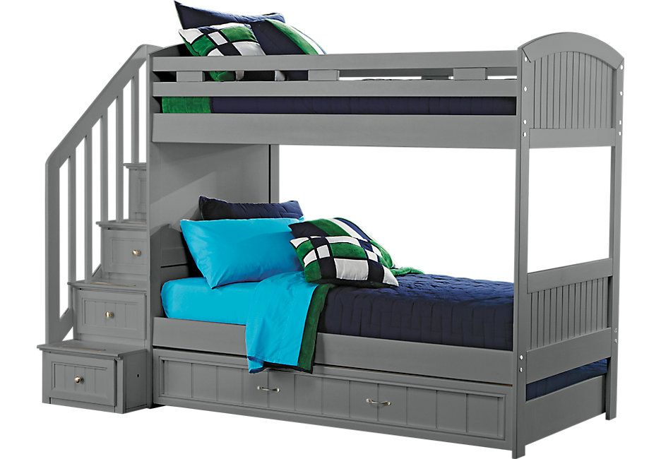 Cottage Colors Gray Twin Full Step Bunk Bed With Trundle Future