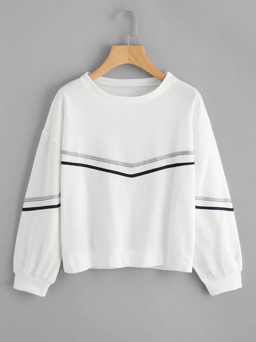 Shop Tape Detail Drop Shoulder Sweatshirt Online Shein Offers