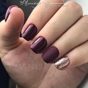 Uñas Mate Color Vino Y Dorado Nails Art
