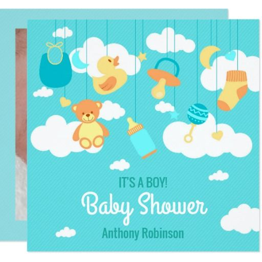 Welcome Baby Boy Arrival Shower personal add photo 13 Cm X 13 Cm Square Invitation Card