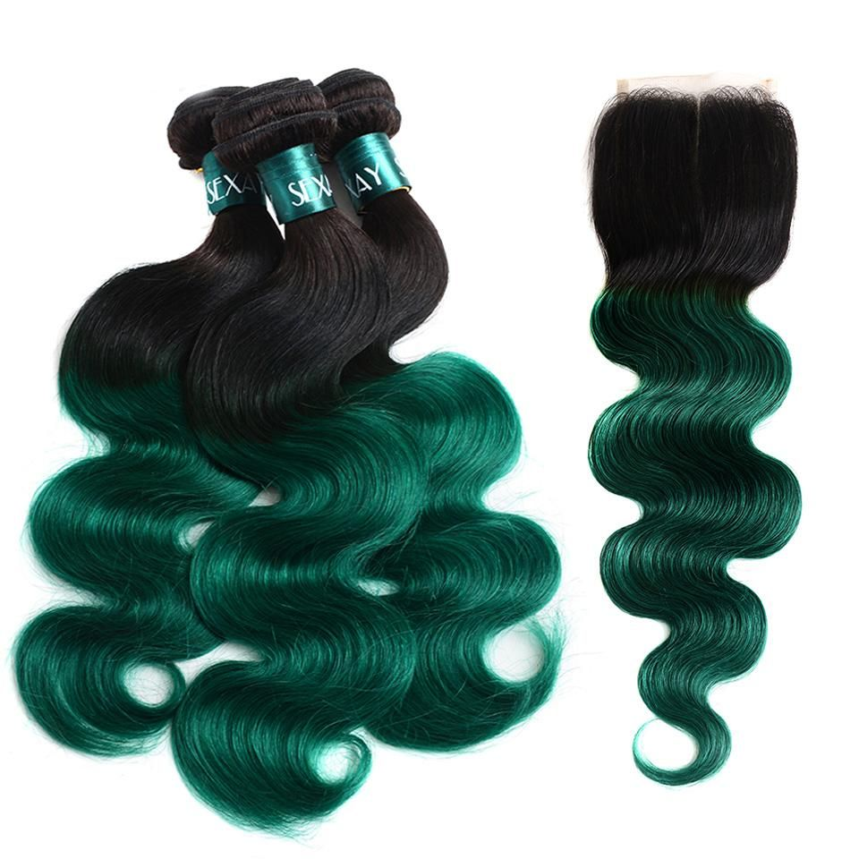 Pre Colored Ombre Bundles With Closure 1bgreen Ombre Human Hair