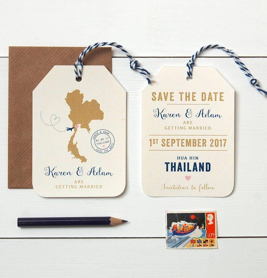 Location Destination Wedding Luggage Tag Cream
