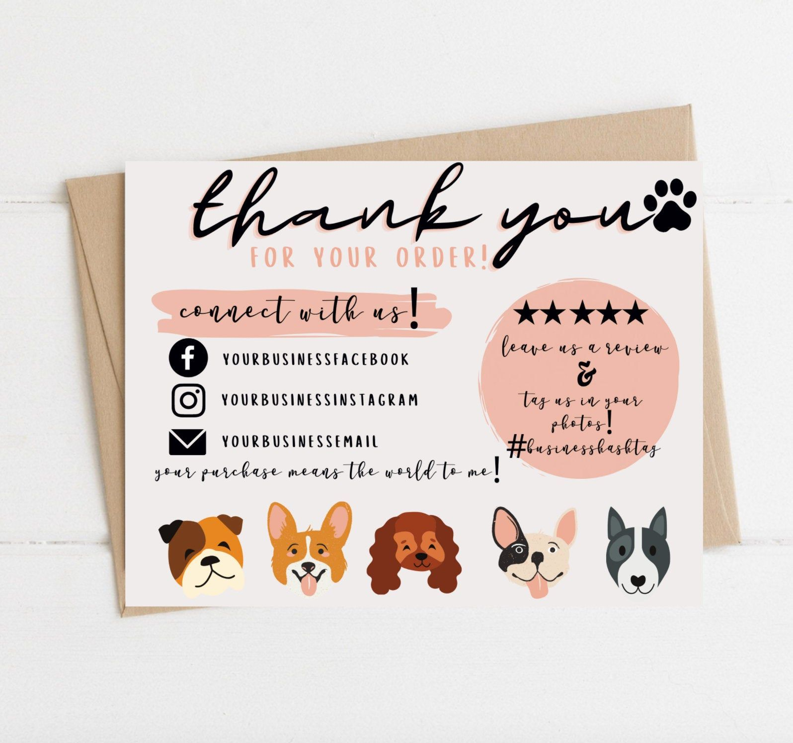 Instant Download Dog Thank You Card Editable And Printable Etsy In 2021 Personalized Thank You Cards Thank You Cards Photo Business Cards