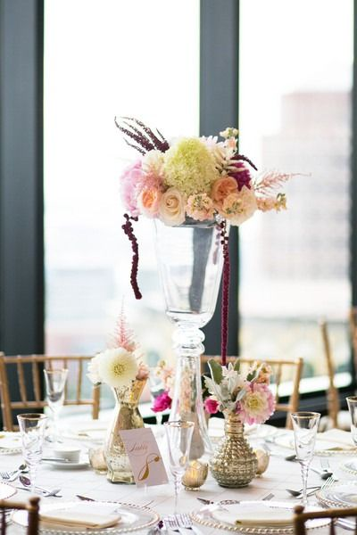 Simple wedding centerpiece idea - tall glass vessels with pastel roses, hydrangeas, amaranthus, stock and astilbe {Mark Davidson Photographer}