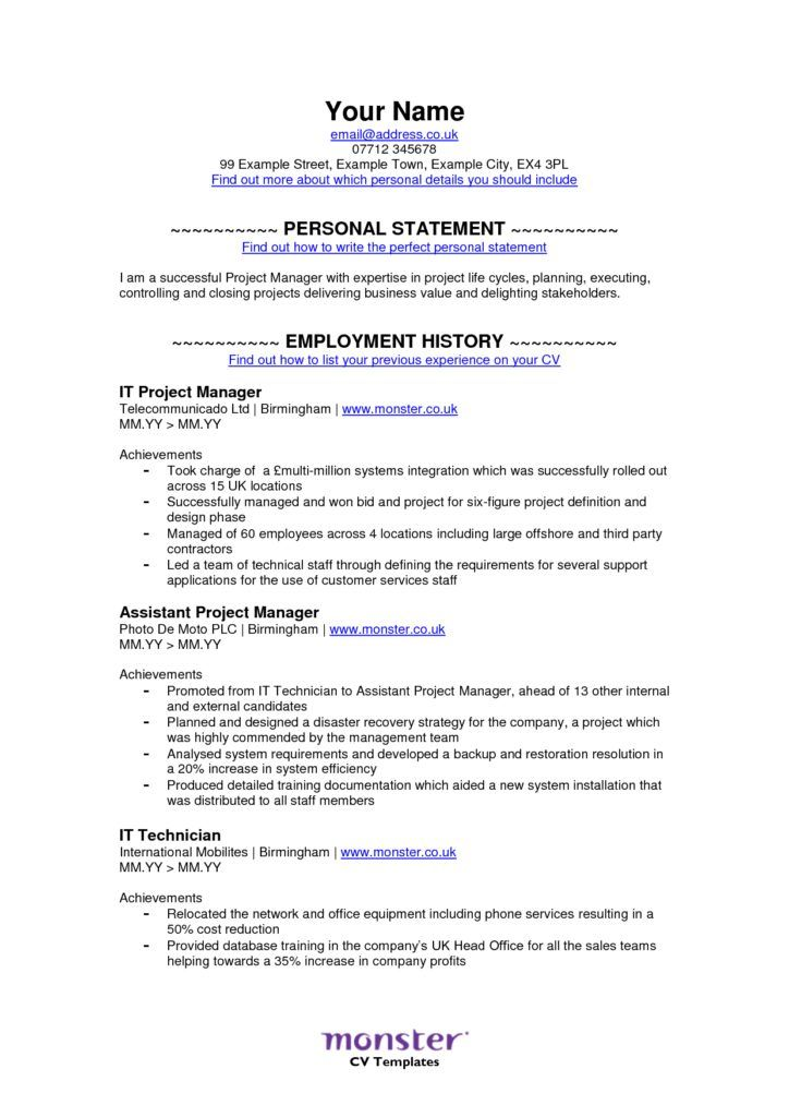 Monster Sample Resume Monster  Monsters Sample Resume And Resume Examples