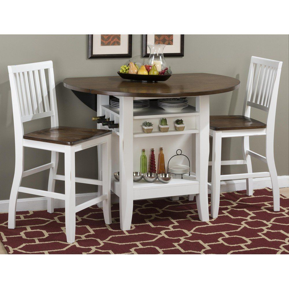 """White Counter Height Dining Table Set Of 3 Piece Bar Pub: Braden Birch 48"""" Round Counter Height 3 Piece Pub Table"""
