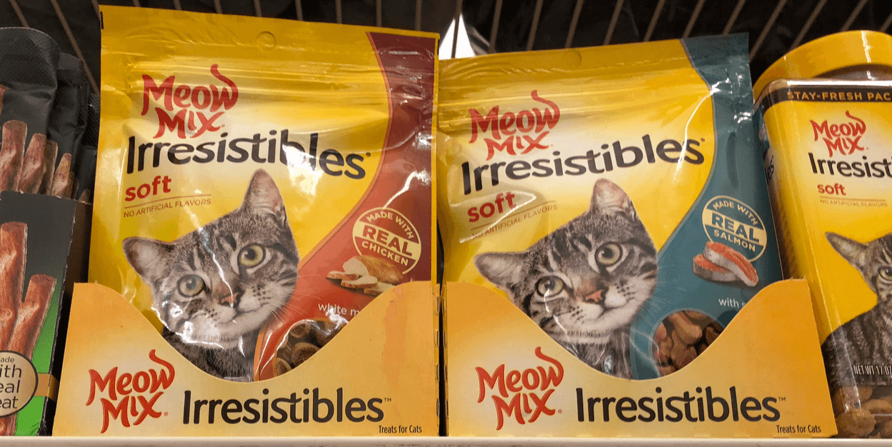 graphic regarding Meow Mix Coupon Printable identified as Meow Blend Irresistibles just $0.24 at Prevent Store For the