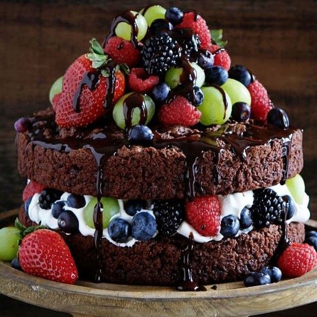 """""""Bake your cake and eat it too with the Skinny Cake! It's a lighter, naked chocolate cake with fruit, and it'll satisfy all your sweet cravings. Get the…"""""""
