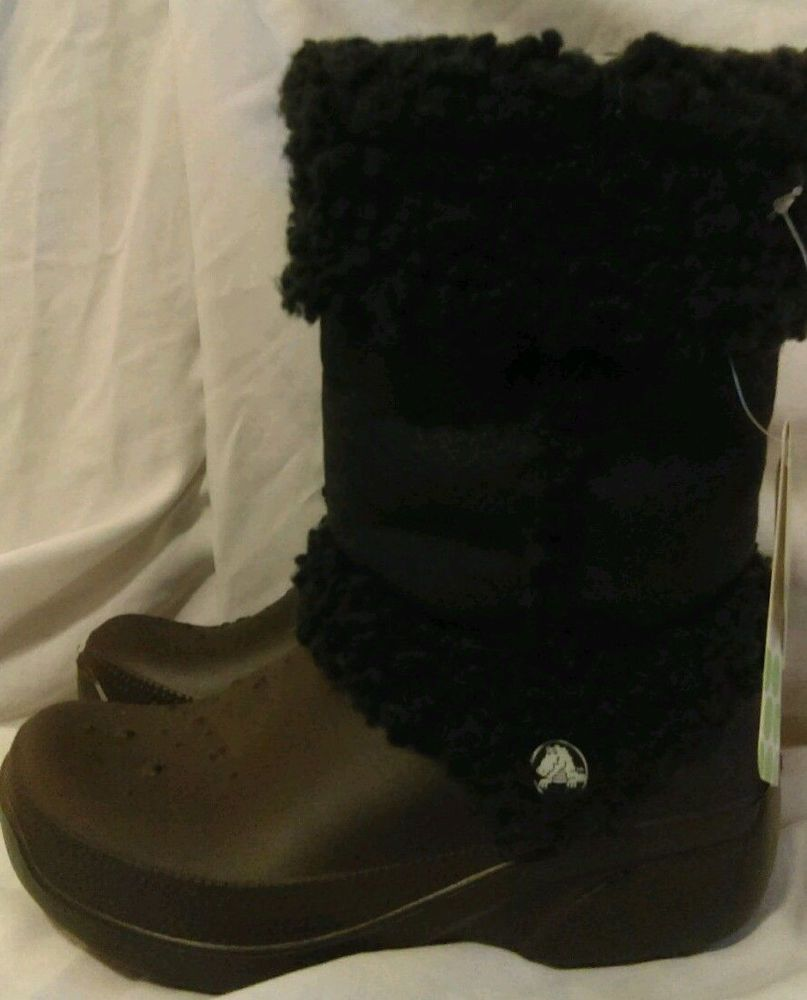 207dee98acb9a Crocs boots Junior 1-3 Nadia Girls Black Fleece lined NWT Fall Winter  Crocs …