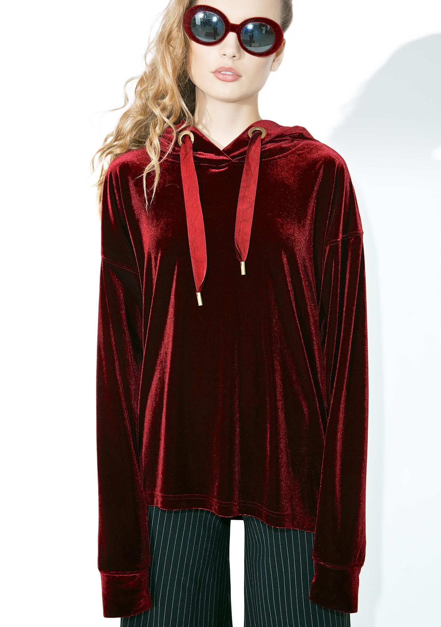 Crimson Claw Velvet Hoodie will strike when they least expect it~ This beautiful pullover features a blood red velvet construction, slouchy fit, banded trim, and oversized drawstring hood.