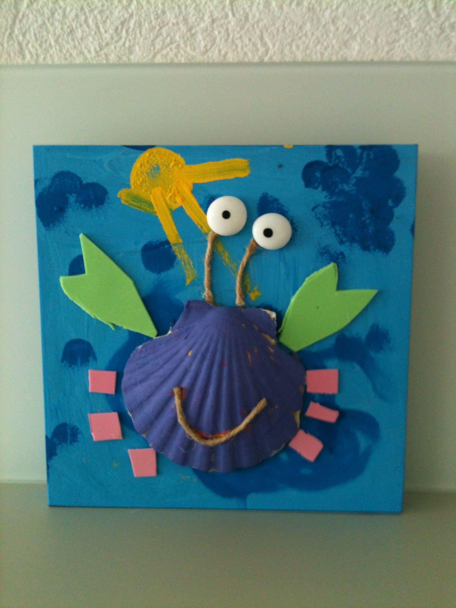 Bricolage crabe avec coquillage le crabe pinterest - Bricolage avec coquillage ...