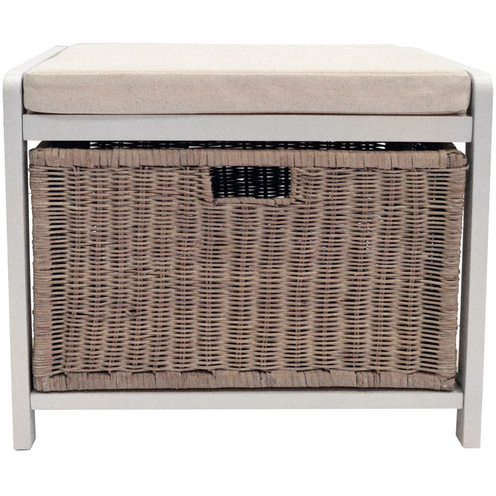 Wicklow Laundry Hamper Storage Stool Hallway Shoe Bench