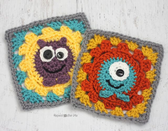 Crochet Monster Granny Squares - Repeat Crafter Me, free pattern 10 ...
