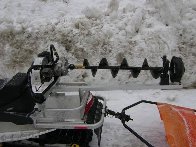 Snowmobile Auger Rack Ice Fishing Fishing Boats Fish