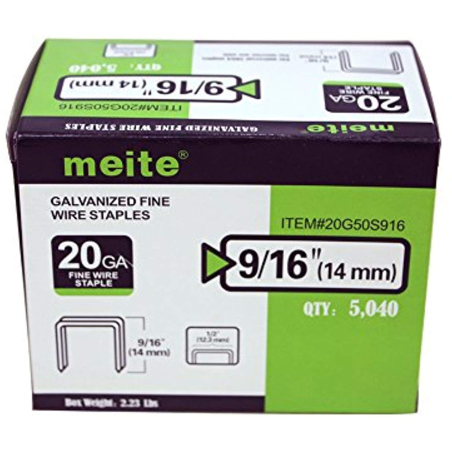 1-Box Pack 5000pcs//Box meite 20 Gauge 10J Series 7//16-Inch Crown 3//8-Inch Leg Length Galvanized Fine Wire Staples Upholstery Staples