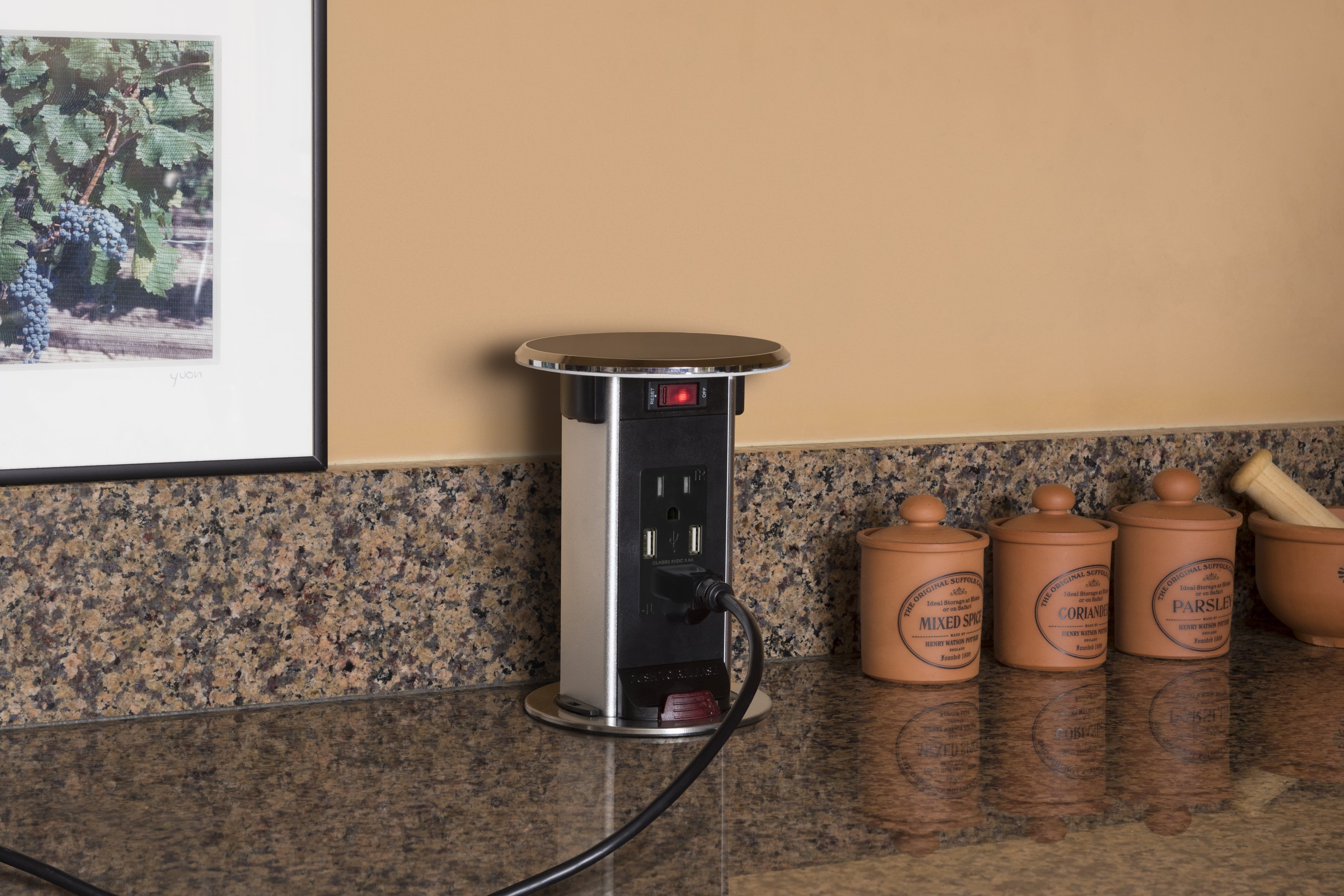 Lew Electric Pur15 Bk Kitchen Pop Up Outlet Featuring 2 Plugs 2