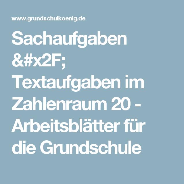 Sachaufgaben / Textaufgaben im Zahlenraum 20 - Arbeitsblätter für ...