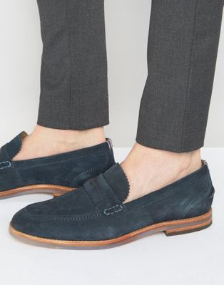 27a6f6f071a Hudson London Romney Suede Penny Loafer Shoes