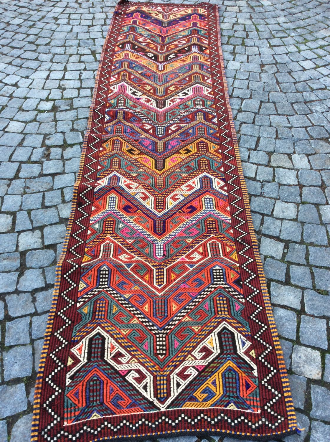 Kilim Runner Rug Turkish Floor With Colourful Jijim X Feet Hallway Carpet Mersin Organic Bohemian By Kilimcarpetgallery On