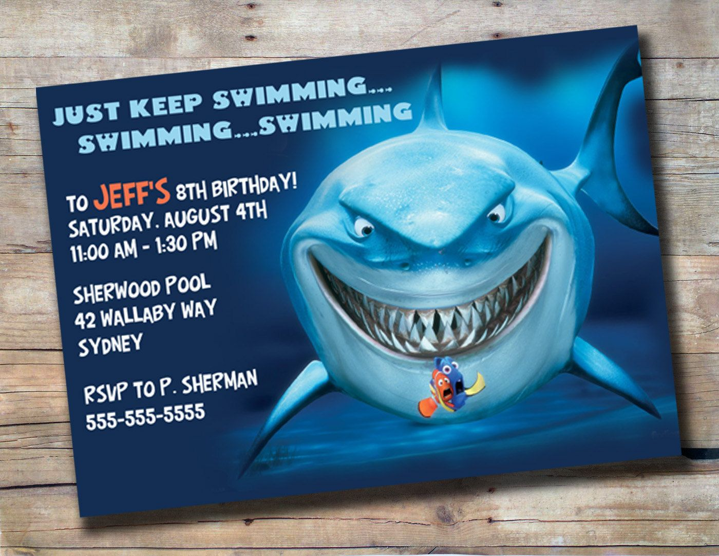 Bruce the Shark Birthday Invitation 1000 via Etsy – Shark Invitations Birthday Party