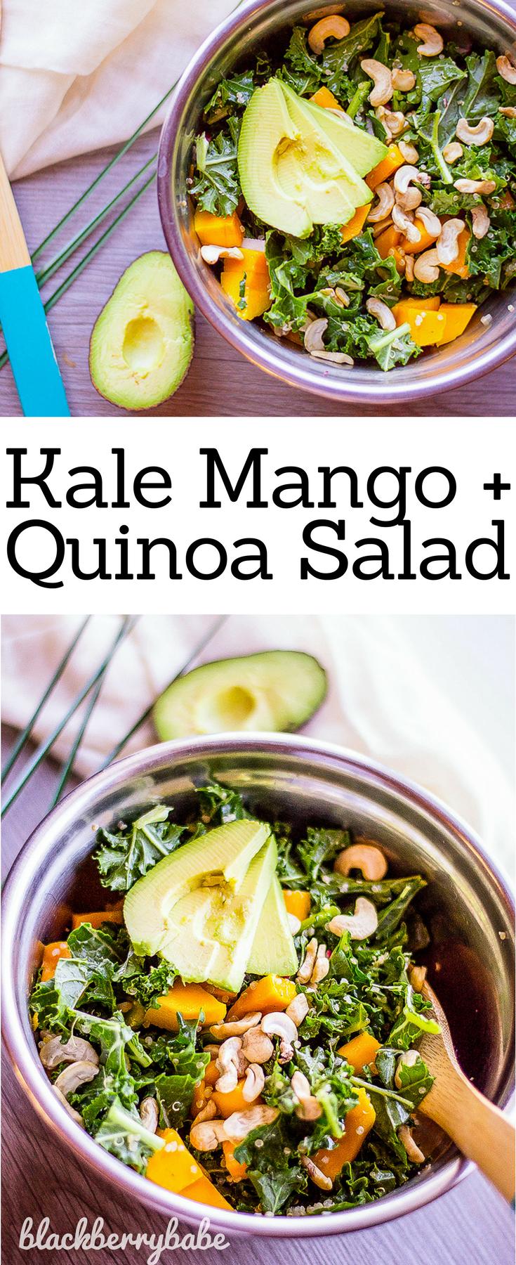 Kale Mango And Quinoa Salad Vegan Recipe Vegetarian