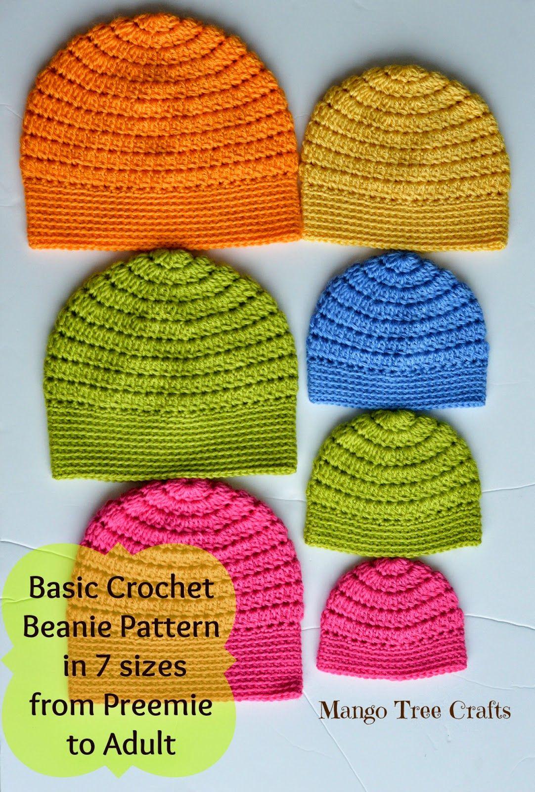Mango Tree Crafts  Free Basic Beanie Crochet Pattern All Sizes ... f5be1590ab