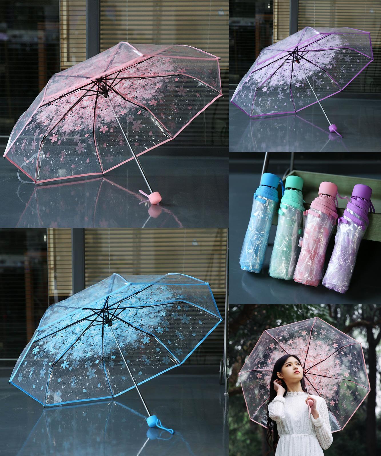 7885a5714 [Visit to Buy] New Cherry Blossom Transparent Umbrella Rain Women 3 Folding  Sakura Flower Umbrella Female Rain Tools Transparent Umbrella Art  #Advertisement