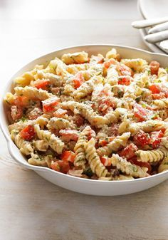 Garden Chicken Pasta Salad – Cheesy ranch dressing flavors this savory salad recipe of pasta, broccoli, peppers, and precooked chicken. It's perfect for summer picnics or potlucks!