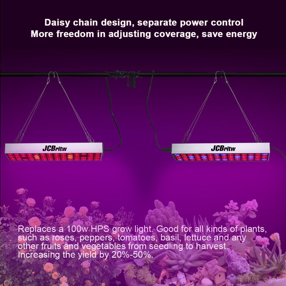 Jcbritw Led Grow Light Panel Full Spectrum With Veg Bloom Dual Switch 30w Plus Plants Growing Lamps Aluminum Made Hydroponic Gardening Grow Lights Hydroponics