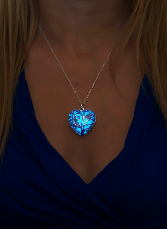 Bien-aimé Blue Glow Necklace - Blue Jewelry - Blue Necklace - Gift for Mom  AV37