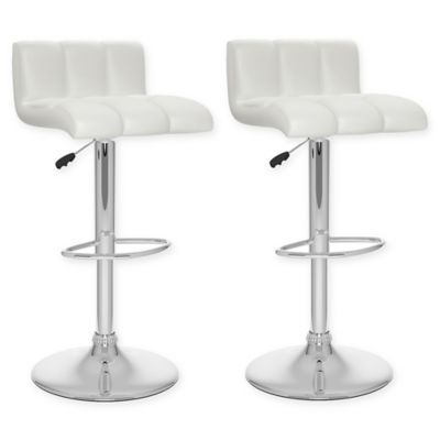 Corliving Faux Leather Swivel 33 Bar Stools In Adjustable Bar
