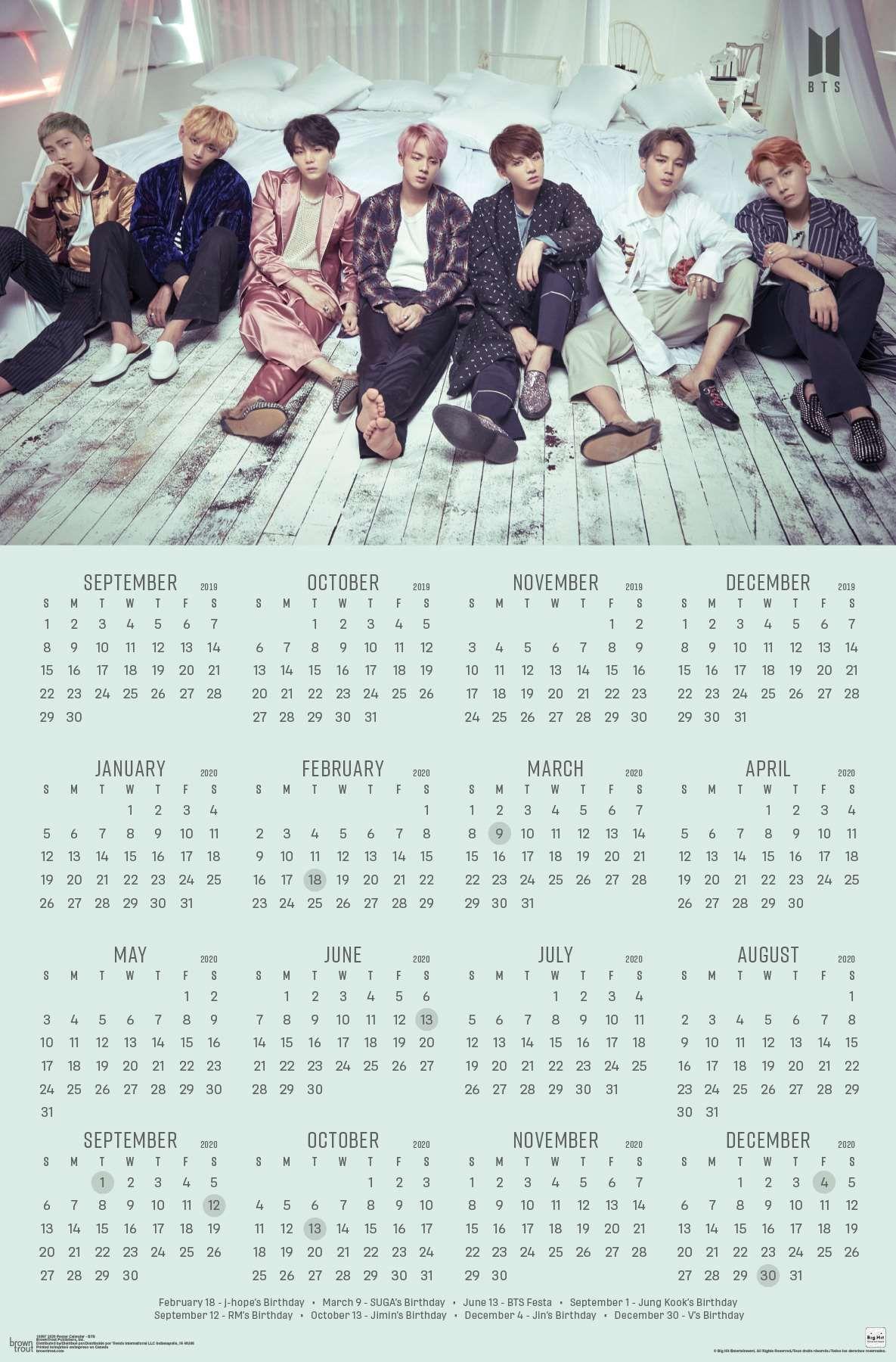 2020 Poster Calendar BTS Ideias de calendário, Meninos