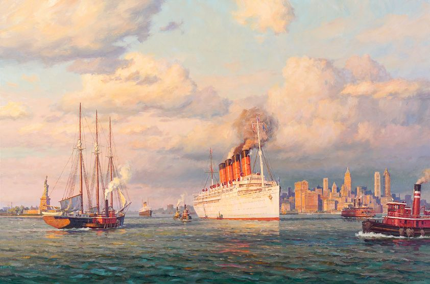 Cunard Liner Mauretania of 1907, steams outbound through New York Harbor in 1933