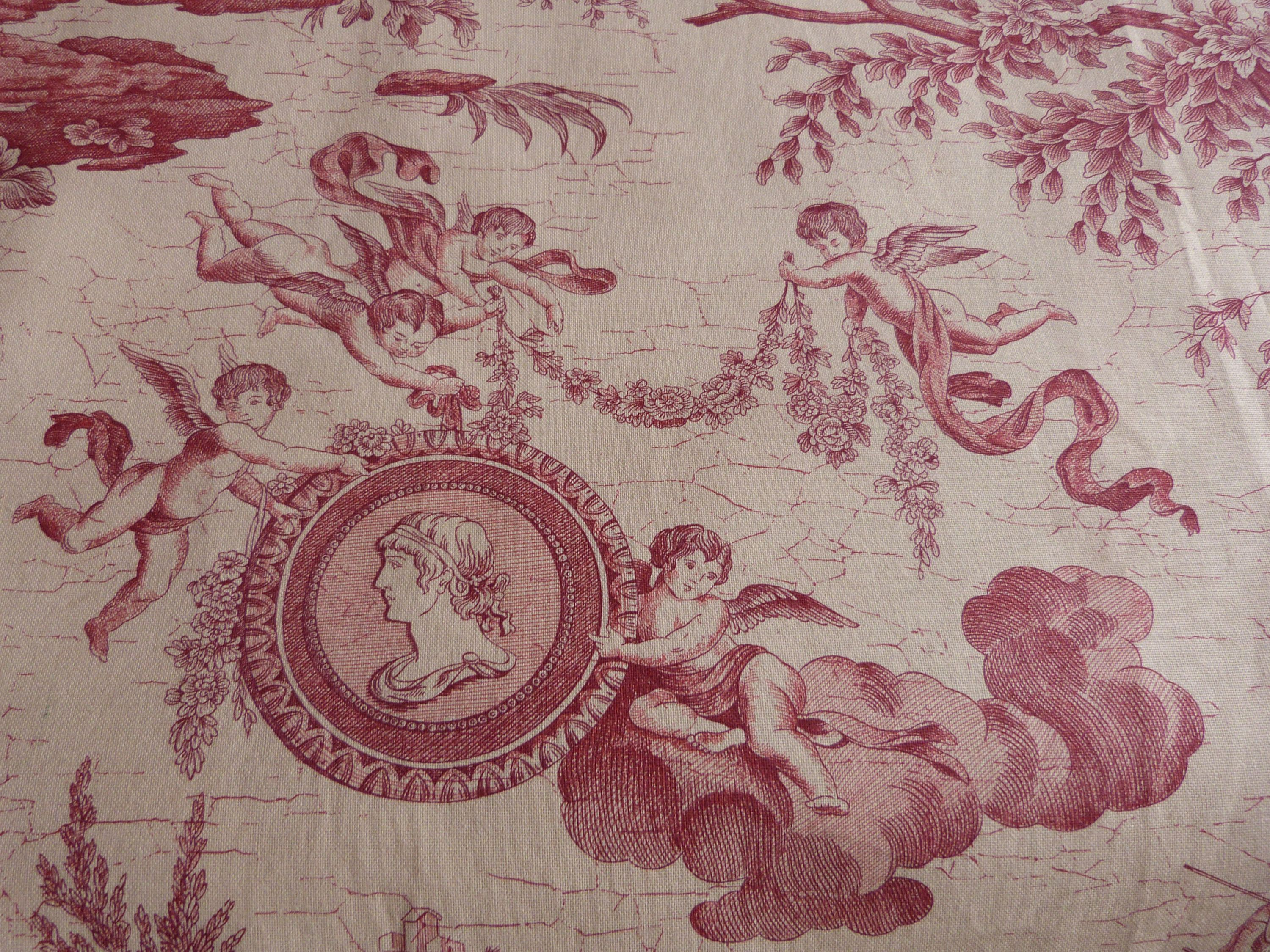 Vintage french toile de jouy fabric red toile fabric w for French toile fabric