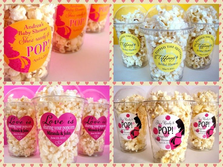 Baby Shower Favors Using Popcorn ~ She s about to pop baby shower stickers on clear cups to use as