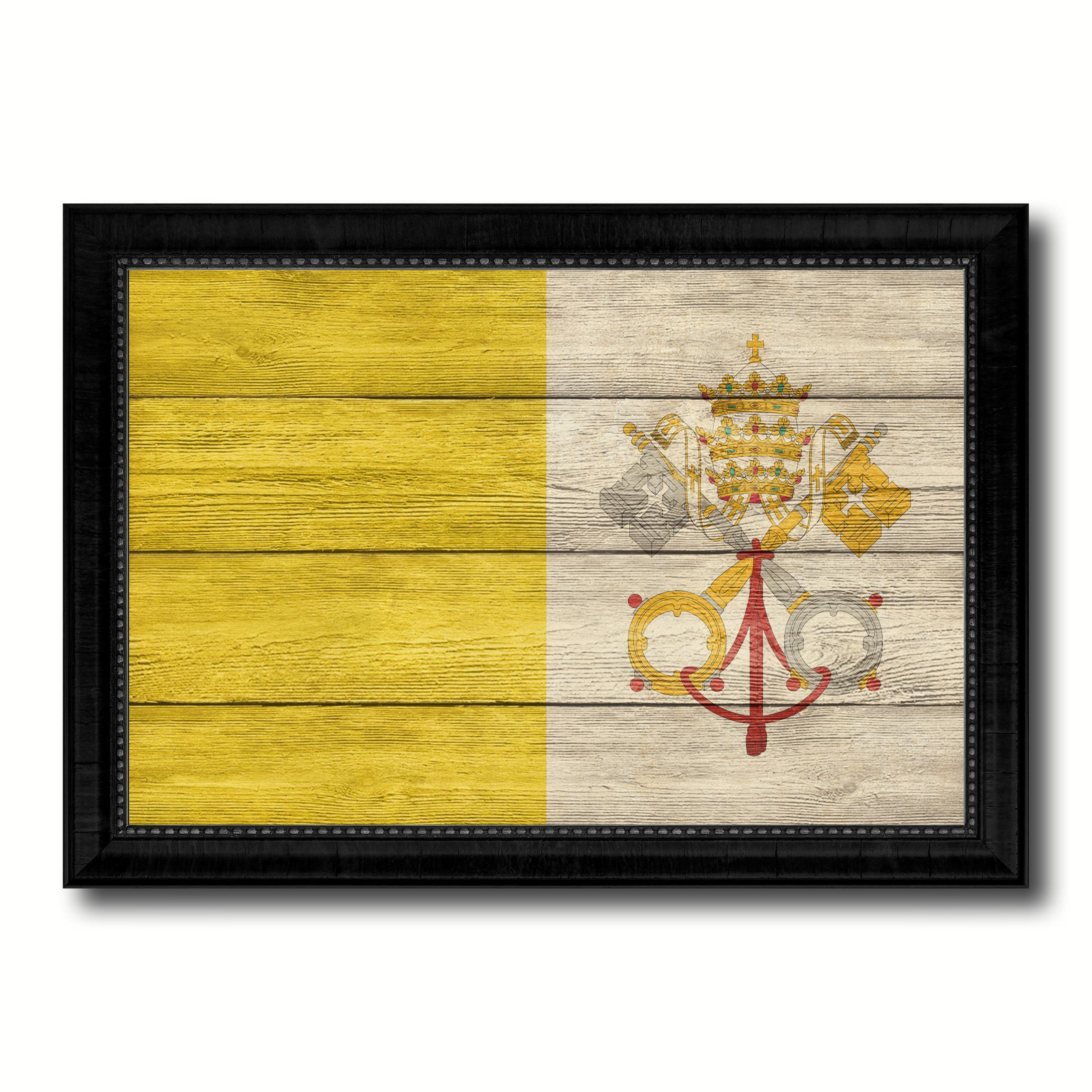 Vatican City Country Flag Texture Canvas Print with Black Picture ...
