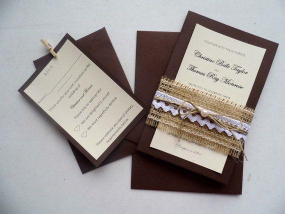 Rustic wedding invitation with burlap by MelindasSewingCorner