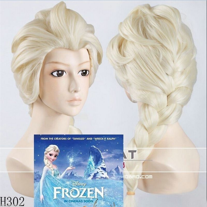 New Cartoon Movie Frozen Snow Wig Queen Anna Elsa Wig Long Blonde Braid Cosplay Anime Wig ponytail Classic Halloween Hair-in Wigs from Beauty & Health on Aliexpress.com 13.99