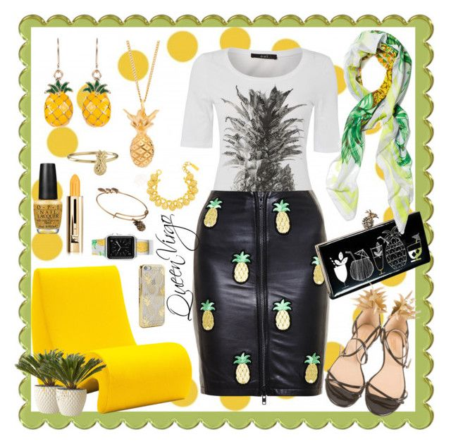"""""""Pineapple Express"""" by queenvirgo on Polyvore featuring Oui, Love Leather, Kate Spade, Skinnydip, Alex and Ani, Vitra, Architectural Pottery, Aquazzura, OPI and Lee Renee"""