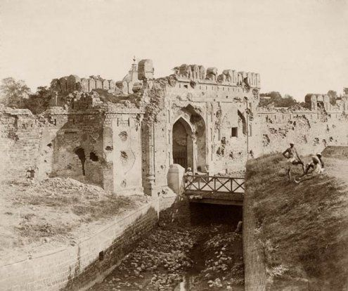 The battle scarred Kashmiri gate after the Siege of Delhi by the British during the Indian rebellion of 1857