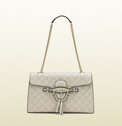 a5f8a99c010d Gucci Emily White Guccissima Chain Shoulder Bag | Stuff to Buy