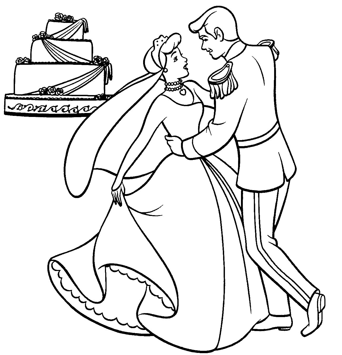 Wedding Dance Princess Coloring Pages