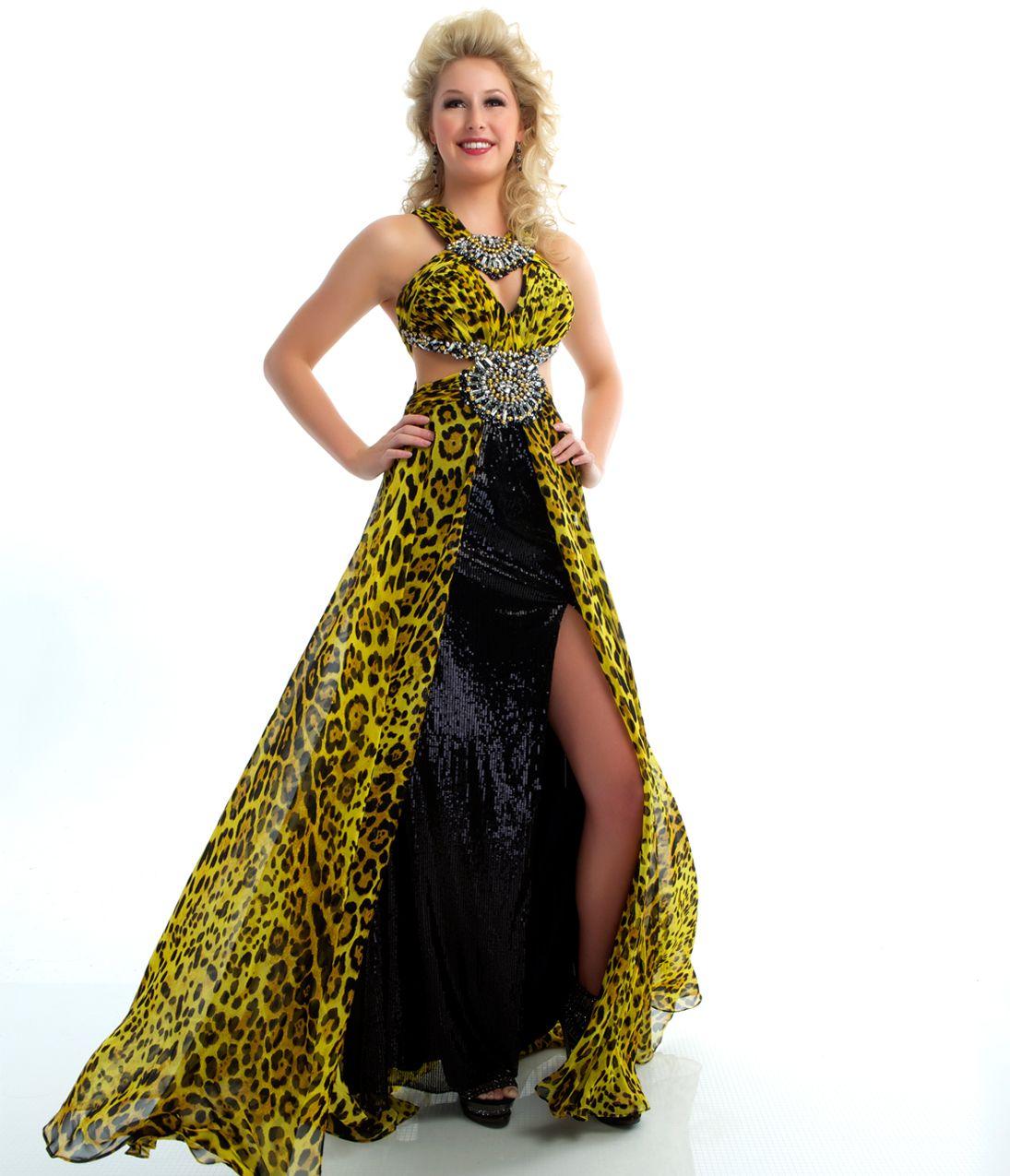 Mac Duggal Prom 2013 - Yellow Leopard Print Halter Gown ...