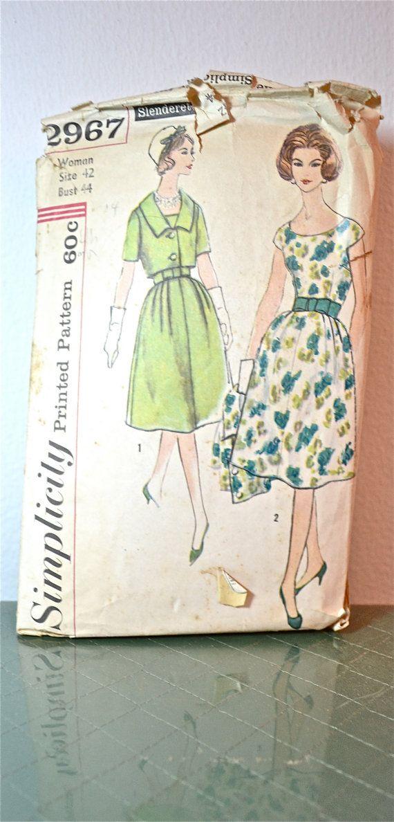 1960s Vintage Plus Size Simplicity Pattern 2967 Womens Dress, Jacket ...