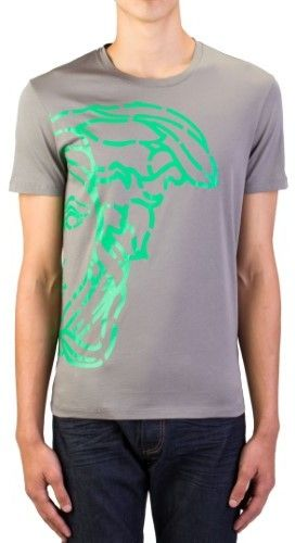 c51409ab964 Versace Men s Cotton Medusa Logo Graphic Crewneck T-Shirt Grey Green ...