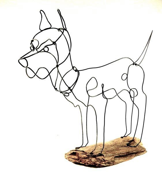 Handcrafted Great Dane Wire Sculpture Made From One Continuous Piece