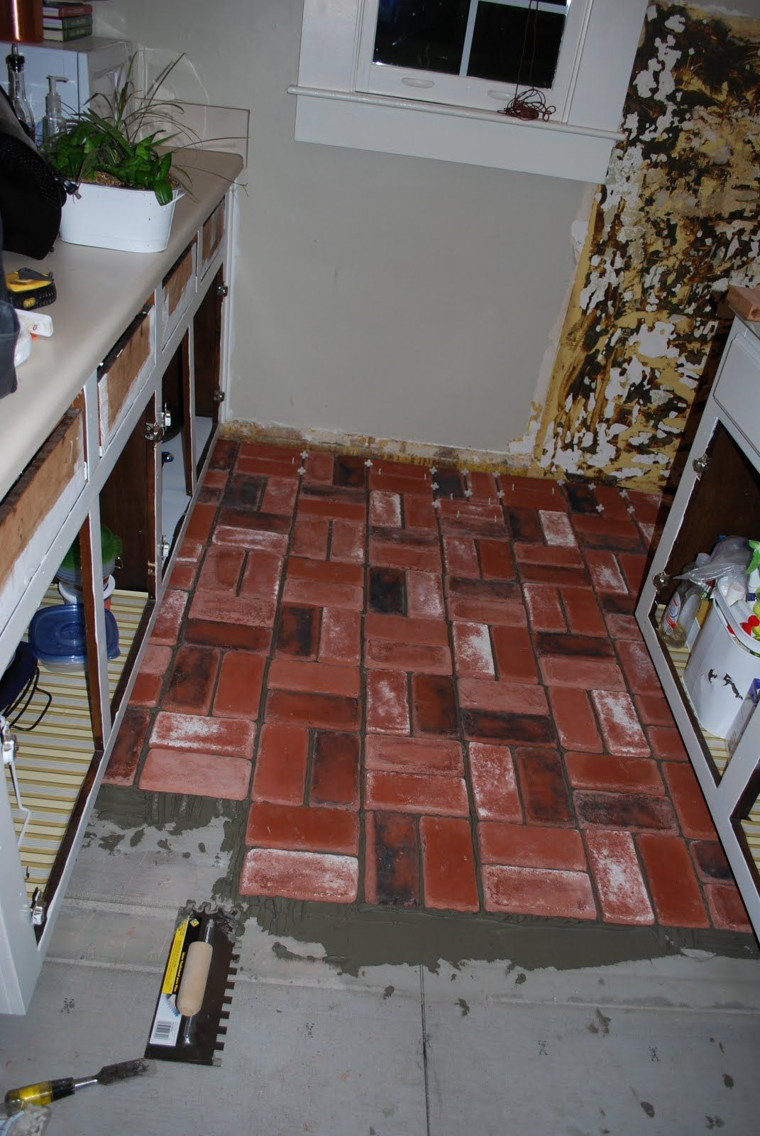 Kitchens With Brick Floors Brick Floors Im Doing This In My Small Kitchen Cabinets