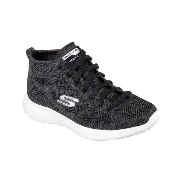 Women's Skechers Burst Divergent High Top - Black/White Athletic ($77) ❤  liked