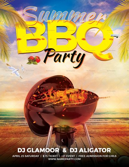 Summer BBQ Flyer Template Design Flyer Templates Flyer design